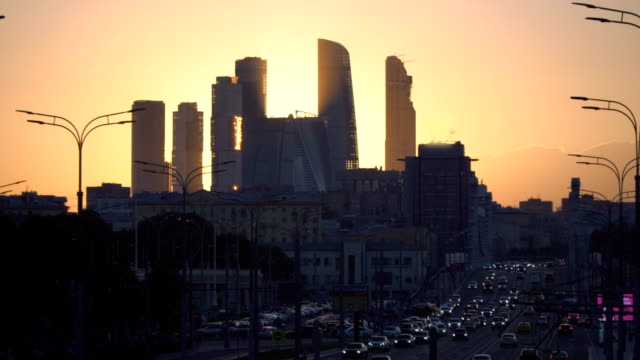 view-of-the-skyscrapers-and-towers-of-downtown-at-sunset