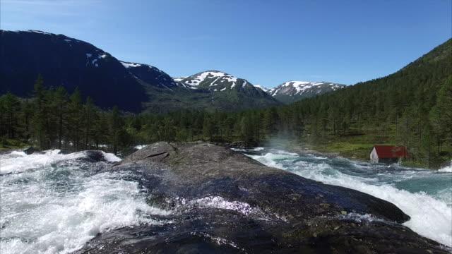Flight-under-the-bridge-above-waterfall-in-Norway
