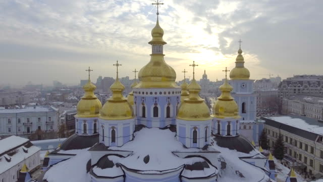 Aerial-view-of-St-Michael-s-Monastery---one-of-the-oldest-monasteries-in-Kiev-
