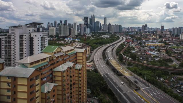 Vista-de-ángulo-alto-de-tiempo-lapso-de-nubes-en-movimiento-en-Kuala-Lumpur