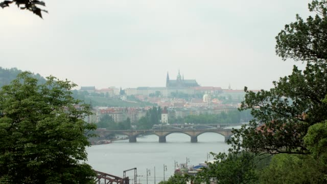 beautiful-view-on-Prague-city-Vltava-river-and-bridges-trees-branches-are-in-sides