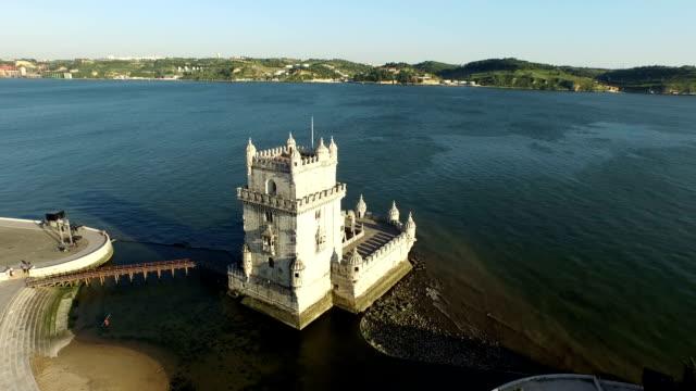 Vista-aérea-de-la-torre-de-belén-en-Lisboa,-Portugal
