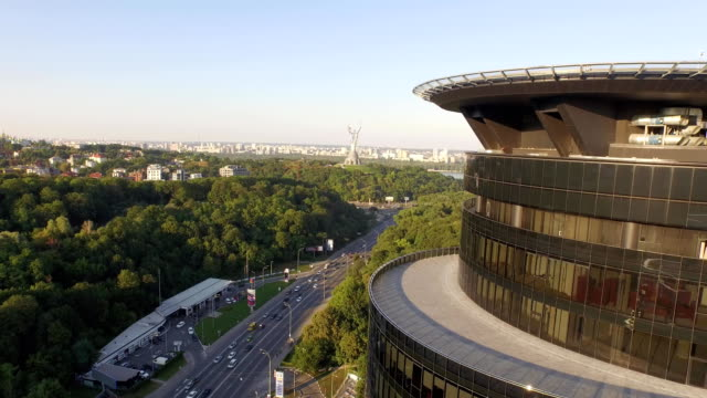 Smooth-flight-around-modern-office-building-in-Kiev-Ukraine