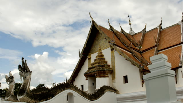 Time-Lapse-of-White-fluffy-clouds-in-the-blue-sky-and-Buddhist-temple-of-Wat-Phumin-in-Nan-Thailand-background-