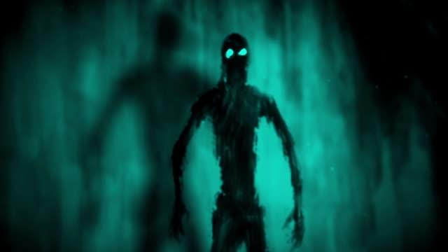 Zombies-de-ataque-dentro-de-tumba-Fondo-azul