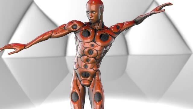 Robotic-Artificial-intelligence-AI-deep-learning-computer---Dancing-cyborg