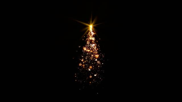 Weihnachtsbaum-Lichter-mit-Schneeflocken-Star-und-Schnee-fällt-auf-schwarzem-Hintergrund-geloopt-für-Dekoration-oder-overlay