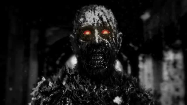 Schwarze-Zombie-mit-glühenden-roten-Augen-wandern-im-Flur-des-verlassenen-Haus
