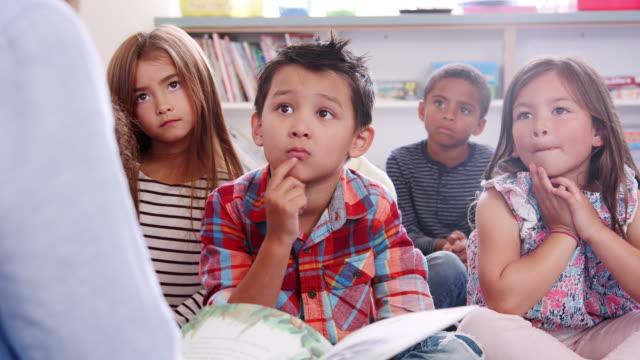 Niños-de-escuela-primaria-escucha-al-profesor-leyendo-una-historia