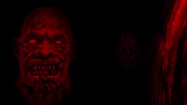 Miedo-rojo-zombi-enfrenta-emergiendo-de-la-oscuridad-