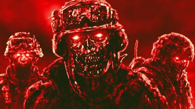 Los-malvados-soldados-zombies-en-cascos-se-paran-contra-el-fondo-de-nubes-oscuras-voladoras-