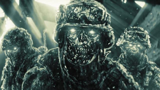 Guerreros-zombis-en-casa-en-ruinas-con-rayos-de-luz-