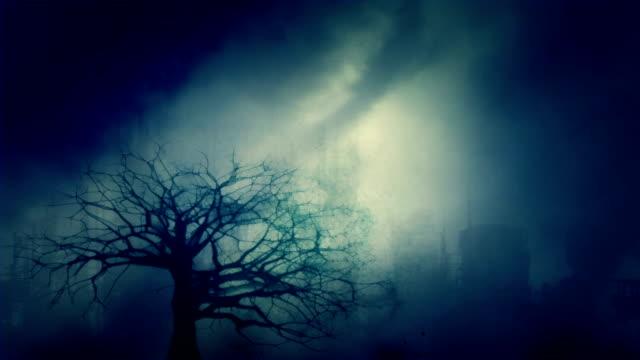 Árbol-muerto-sobre-un-fondo-de-ciudad-desierta-después-de-la-Apocalipsis