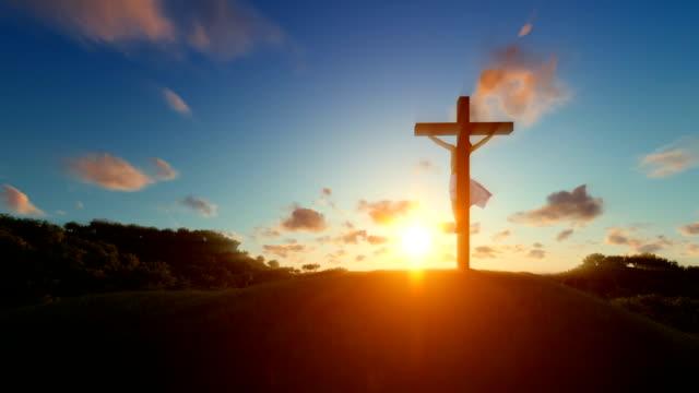 Jesús-en-cruz-sobre-el-concepto-de-puesta-de-sol-de-la-religión