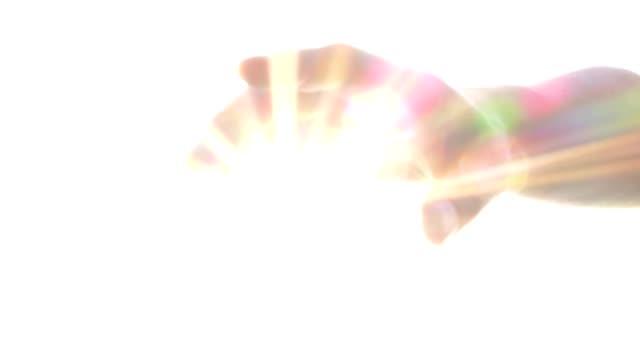 llegar-a-mano-con-brillo-bendición-Dios-Ángel