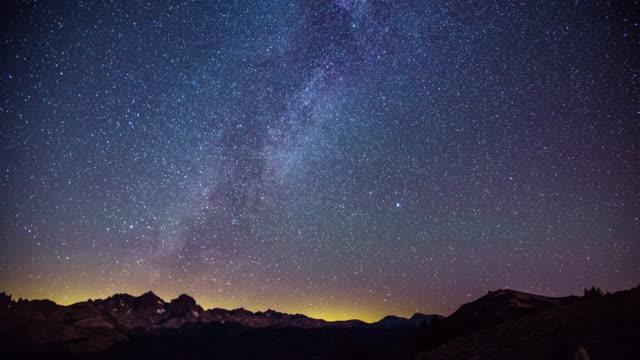 Tiempo-transcurrido---Galaxia-Vía-Láctea-hermosa-por-encima-de-la-gama-de-la-montaña---4K