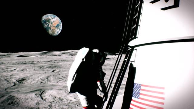 Der-Astronaut-steigt-die-Treppe-und-kehrt-zum-Mond-lander
