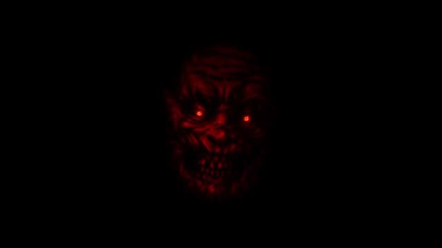Beängstigend-rotes-Zombie-Gesicht-auf-schwarzem-Hintergrund-