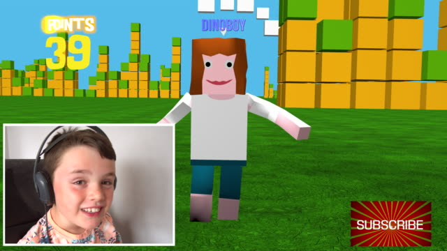 Young-boy-streaming-an-online-3D-block-style-game-as-he-uploads-live-video-of-him-playing-it