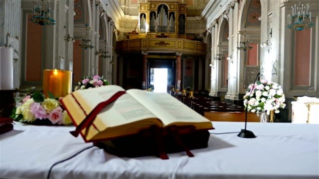 Interior-of-an-old-church-in-Italy-preppared-for-a-wedding-ceremony