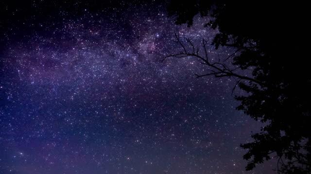 Lapso-de-tiempo-cielo-estrellado-de-la-vía-Láctea