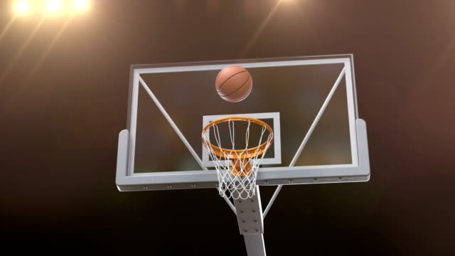 Professional-Throw-Basketball-Hoop-Slow-Motion-Camera-Fly-Beautiful-Ball-Flight-into-Basket-Net-Court-Gold-Spotlights-Flares-Sport-Concept-3d-Animation