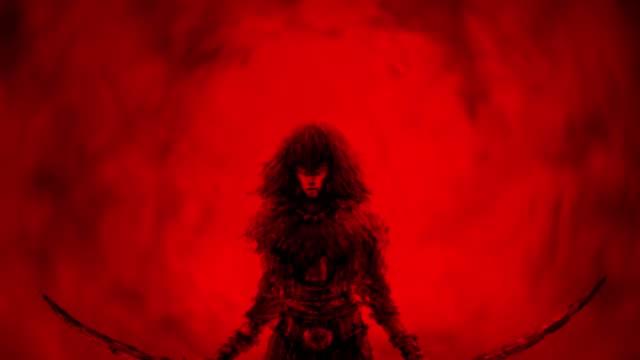 Danger-girl-warrior-raises-two-swords-