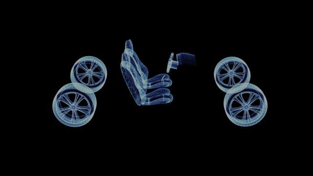 El-holograma-de-una-estructura-metálica-de-piezas-de-automóvil
