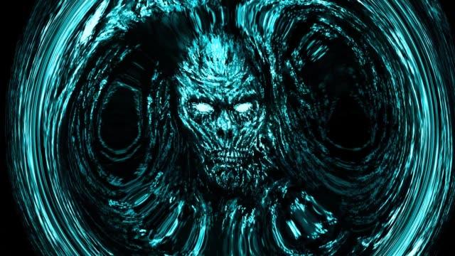 Cara-zombi-azul-miedo-que-emerge-de-la-oscuridad-con-el-remolino