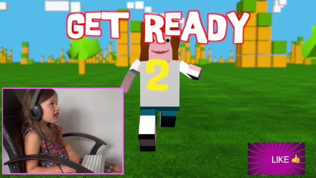 Young-girl-playing-a-3D-style-online-game-as-a-streaming-channel-with-real-video