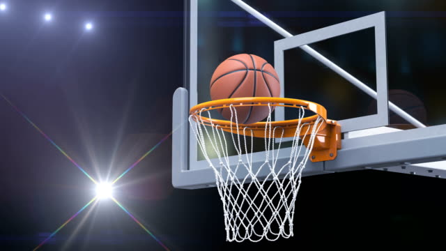 Beautiful-Basketball-Ball-Hits-Basket-Net-Slow-Motion-Close-up-Photo-Flashes-Ball-Flies-Spinning-into-Basketball-Hoop-with-Stadium-Lights-Sport-Concept-3d-Animation