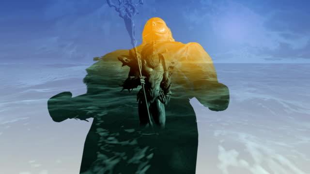 3D-Animation-des-Neptun-(Poseidon)-im-see