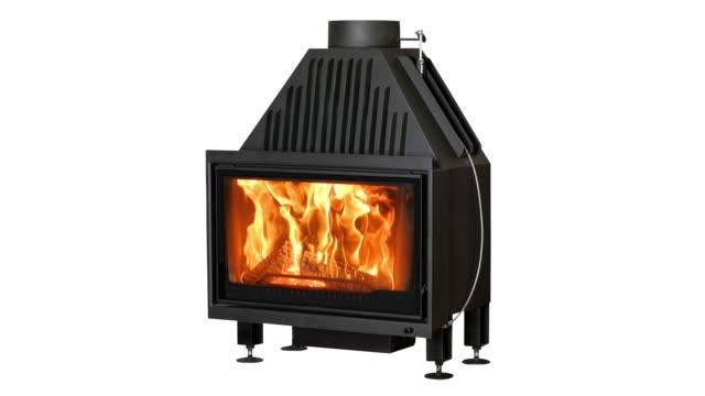 Burning-fireplace-isolated-on-white-background