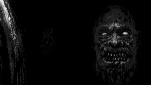 Aterradoras-caras-zombi-emergiendo-de-la-oscuridad-