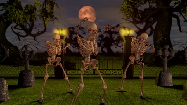 Attacking-skeletons-at-night-in-the-cemetery-Halloween-concept-