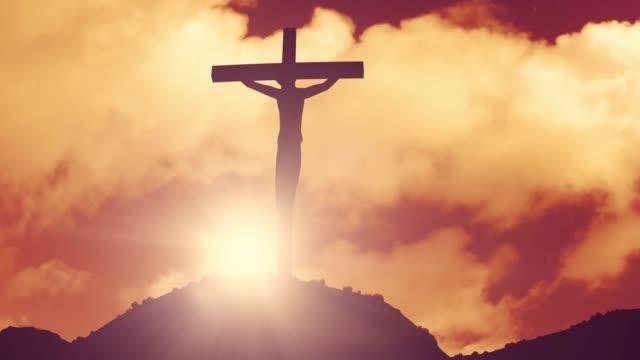 Cruz-en-una-crucifixión-hill-Biblia-iglesia-de-Jesús-Cristo-religión-cristiana-4k
