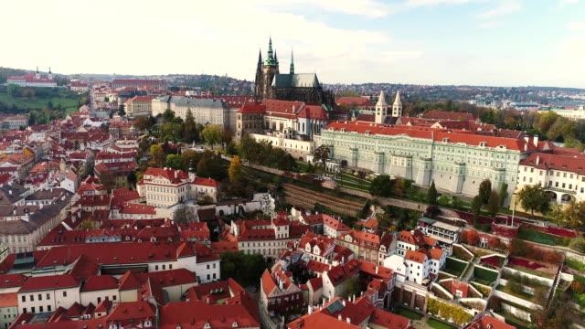 Panorama-von-Prag-Prager-Burg-und-Vltava-(Moldau)-Tschechische-Republik-Prag