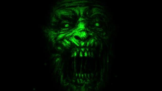 Gruselige-Zombie-grünen-Gesicht
