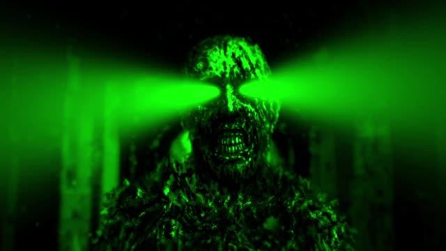 Zombie-oscuro-con-rayos-verdes-de-los-ojos-en-calabozo
