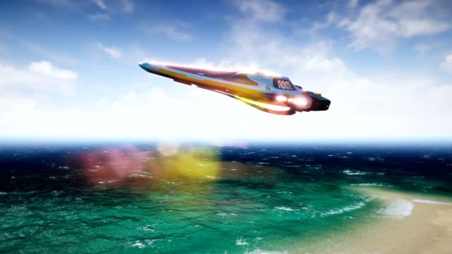Una-nave-espacial-volando-sobre-un-planeta-de-agua-desconocida-Un-concepto-futuro-de-un-OVNI-