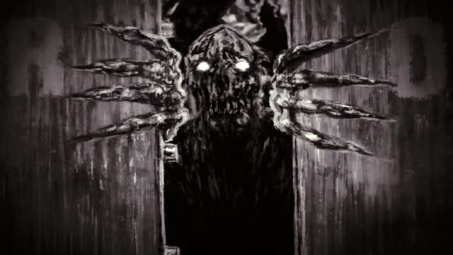 Vereiztes-Zombie-Monster-öffnet-Bunkertüren-und-knurrt-