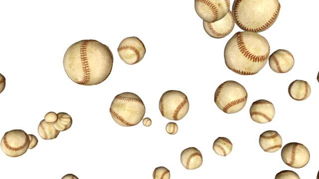 Baseball-balls-flying-in-slow-motion-against-white