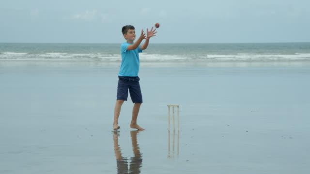 Un-niño-jugando-cricket-wicket-keeper-coge-la-bola-y-golpea-los-tocones-