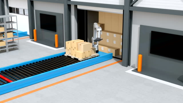 Industrial-robot-unloading-parcels-from-semi-truck