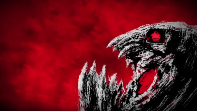 Cabeza-de-monstruo-enojado-hace-un-chasquido-de-sus-mandíbulas-