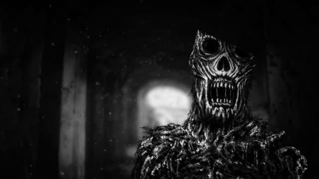 Zombie-terror-en-corredor-de-la-oscuridad-
