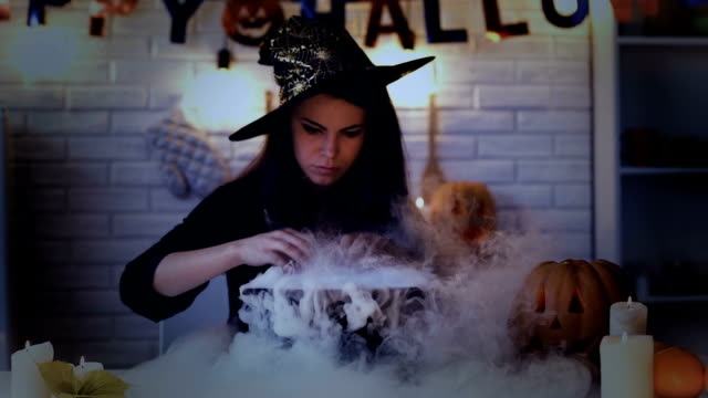 Beautiful-witch-performing-mysterious-magic-ritual-cooking-potion-in-cauldron