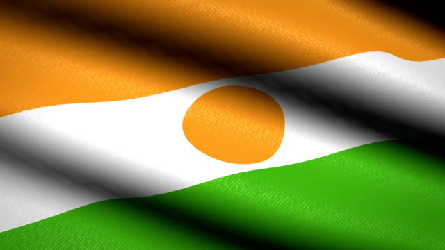 Niger-Flag-Waving-Textile-Textured-Background-Seamless-Loop-Animation-Full-Screen-Slow-motion-4K-Video