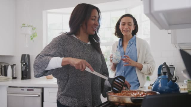 Middle-aged-woman-standing-in-the-kitchen-cooking-her-adult-daughter-standing-beside-her-talking
