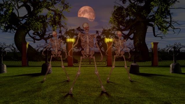 Tanzende-Skelette-auf-dem-Friedhof-in-der-Nacht-Halloween-Konzept-